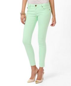Life In Progress™ Zip Pocket Colored Skinny Jeans Lime | FOREVER21 - 2008586121