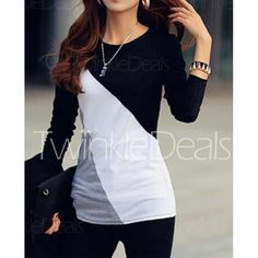 Korean fashion, women's fashion http://www.twinkledeals.com/tees-tanks/fashionable-round-neck-color-block/p_73138.html