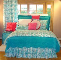 Twin Fabulous Zebra Bedding in Turquoise and Hot Pink