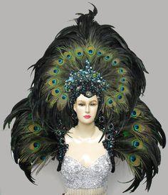 Da NeeNa MUL Showgirl Drag Peacock Backpiece Headdress