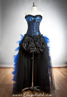 Custom Size Black and Royal Blue Burlesque corset dress with polka dots and train. $450.00, via Etsy.