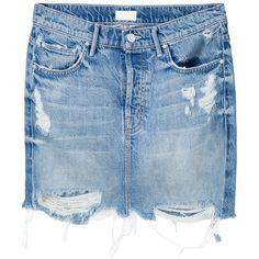 Mother distressed denim mini skirt (€240) ❤ liked on Polyvore featuring skirts, mini skirts, blue, distressed denim skirt, short skirts, short blue skirt, distressed denim mini skirt and blue mini skirt