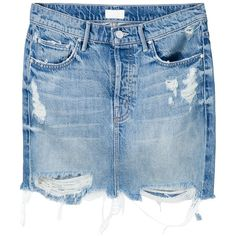 Mother distressed denim mini skirt (1.275 DKK) ❤ liked on Polyvore featuring skirts, mini skirts, blue, distressed denim skirt, mini skirt, short mini skirts, distressed denim mini skirt and blue skirt