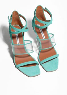 & Other Stories image 2 of Clear Heeled Sandals in Turquoise