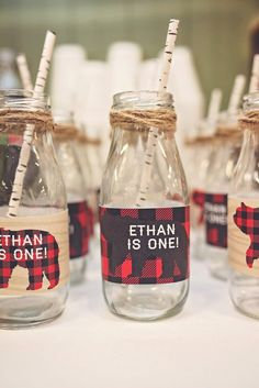 Milk Glasses Milk Jars Lumberjack Camping Party First Birthday Twine Birch Straws Buffalo Plaid Bears Rustic Baby 1st Birthday, Birthday Bash, Bear Birthday, First Birthday Parties, Birthday Ideas, Lumberjack Party, Milk Jars, Milk Bottles, First Birthday Decorations Boy