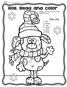 FREEBIE!! Roll, Read and Color Winter Game! Great for Kindergarten Math. Use a numeral die/or a traditional die to differentiate!