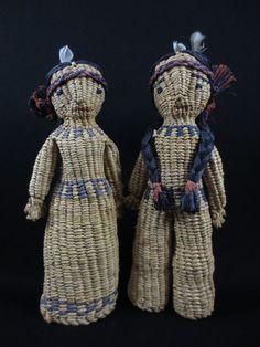 Vintage Quinault Indian Basketry Dolls