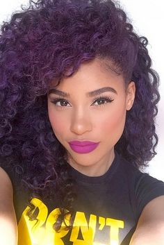 Love her and her hair Curly Hair Styles, Natural Hair Styles, Colored Curly Hair, Curly Purple Hair, Purple Natural Hair, Violet Hair, Natural Hair Inspiration, New Hair Colors, Big Hair