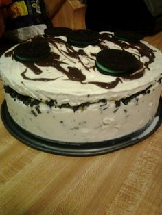 Easy icecream cake!!!    Make or buy an 8in cake any flavor. ( I bought mine at savemart for 4$. Put it inside a spring form pan. Take any flavor icecream slightly soft and spread all Over the top and sides of the cake. Then add a layer of crumbled cookies. Then take 1 tub of cool whip and spread all over the top drizzle some hot fudge and add some whole cookies and ur done!! Leave in the freezer for atleast 2 to 3 hours and take out 15 min before serving!!