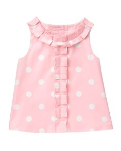 Sweet and lovely, Janie and Jack's baby girls tops and bodysuits come in a variety of colors and styles for your little one.Girl Petal Pink Dot Dot Top by Janie and Jack. Imported and Bloom TownLight and lovely, our dot print top is detailed with ple Girls Top Design, Girls Frock Design, Baby Dress Design, Baby Girl Dress Patterns, Baby Girl Frocks, Frocks For Girls, Little Girl Dresses, Baby Frocks Designs, Kids Frocks Design