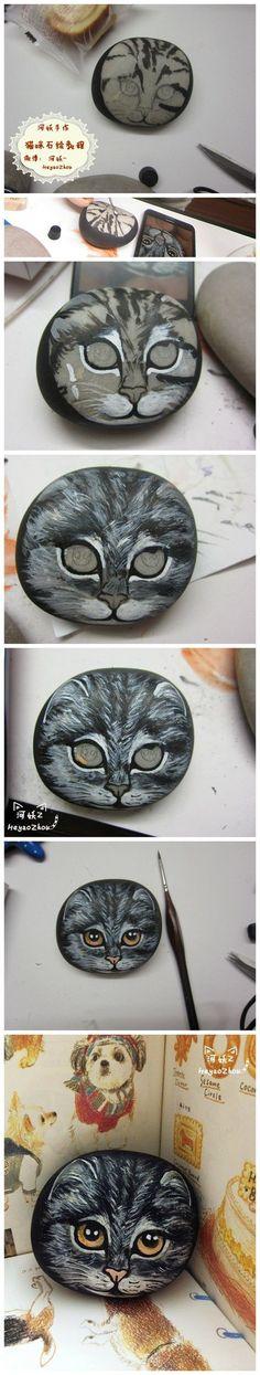 ?全教程 - rock painting cat tutorial (not in English)