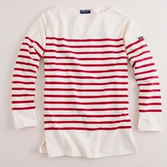 St James ( for J. Crew )Naval II tee in red/ cream Naval II T-Shirt by Saint James. For J. Crew. The official shirt of the French Navy; a long sleeved nautical striped t-shirt with boatneck in heavy weight cotton jersey. Long sleeves with designer's label on left outer sleeve / Side vents at hem /  Length hits just below hip / Relaxed fit /  100% Cotton / Made in France. Note: light mark on lower front. NO OFFERSPRICE FIRMI ONLY TRADE FOR CASH J. Crew Tops Tees - Long Sleeve