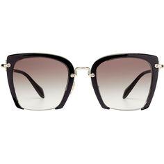Miu Miu Oversize Square Sunglasses (€265) ❤ liked on Polyvore featuring accessories, eyewear, sunglasses, glasses, black, oversized sunglasses, oversized square sunglasses, tinted glasses, square frame sunglasses and tinted sunglasses