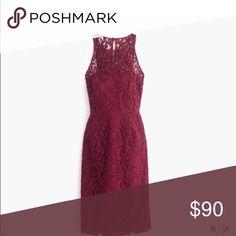 J Crew Pamela Leavers Lace Short Dress NWT beautiful dress in dark wine- make offer $$$ J. Crew Dresses Midi