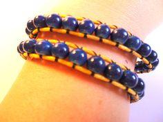 Wrap bracelet blue glass beads with yellow by VazJewelryOriginals