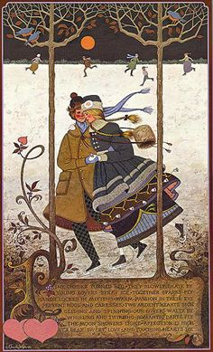 Lovers Waltz art print by Charles Wysocki can be purchased at a special sale price at Christ-Centered Art. Illustrations, Illustration Art, Winter Illustration, Skating Pictures, Decoupage, Nostalgic Art, Country Art, Naive Art, Winter Scenes
