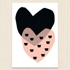 Image of NEW A3 Two Hearts - Pink
