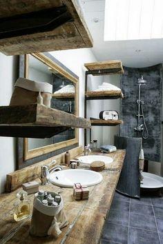 Encantadores baños rústicos Master Bathroom, Wood Bathroom, Natural Bathroom, Wood Sink, Design Bathroom, Wooden Bathroom Countertop, Reclaimed Wood Countertop, Shower Bathroom, Bathroom Styling