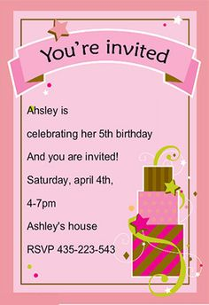 Invitation Cards For Ladies Party. Here we are sharing for a birthday party  special invitation cards kids family girls and boys Birthday with your images message pop up card in box