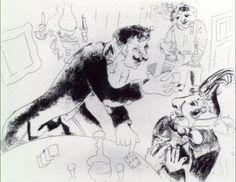 Марк Шагал -  Ноздрев и Чичиков  (c.1923) - Открыть в полный размер
