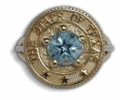 Lone Star Blue Topaz State Seal Wire Ring by C. Kirk Root Designs