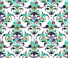 Jonesy ~ Peacock Damask  ~ by PeacoquetteDesigns on Spoonflower ~ bespoke fabric, wallpaper, wall decals & gift wrap ~ Join PD  ~ https://www.Peacoquette.com  #Spoonflower #Peacoquette