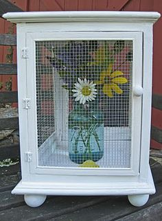 DIY Little Pie Safe-Easy & Cute-When I make this I will add a fold-down drawer pull on the top so I can move it around easily and a little peg in the middle of each corner piece to hold a removable shelf so could hold 2 pies if I want.