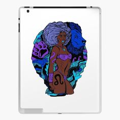 """Leo Beauty Blue"" by Illustration Artist Kenal Louis. Leo Zodiac artwork for Leos. Zodiac Art, Leo Zodiac, Black Artists, Top Artists, Drawing S, Art Drawings, Black Artwork, African American Art, Illustration Artists"