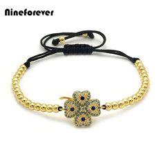 Nine forever fashion women Jewelry CZ Micro Pave Flower design braided Bracelet Gold-color Zircon Clover chain bracelet lucky