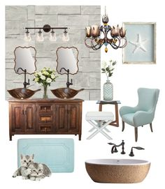 """Copper and Blue Bathroom"" by silverlime2013 on Polyvore featuring interior, interiors, interior design, home, home decor, interior decorating, Crate and Barrel, Safavieh, Pier 1 Imports and Uttermost"
