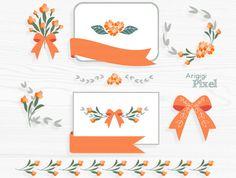 Orange flower clip art set flower clipart card by ArigigiPixel