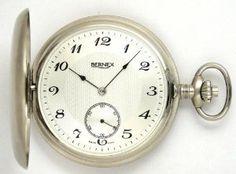 Bernex Swiss Made Large Rhodium Plated Satin Pocket Watch with 17 Jewel Movement Bernex. $699.99
