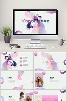 Sản phẩm sáng tạo sóng biến thể hơi dốc lên kế hoạch phương án PPT mẫu#pikbest#powerpoint Ppt Design, Layout Design, Graphic Design, Ppt Template, Templates, Presentation Layout, Web Layout, Vaporwave, Ps