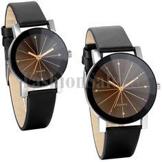Men/Women Couple Watch Quartz Dial Leather Band WristWatch Unisex Round Case NEW #Unbranded