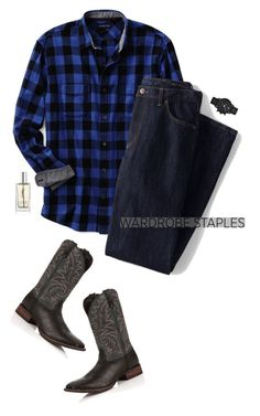 """COWBOY STYLE"" by mimas-style ❤ liked on Polyvore featuring Lands' End, Durango, Emporio Armani, Yves Saint Laurent, men's fashion, menswear, plaid and WardrobeStaples"