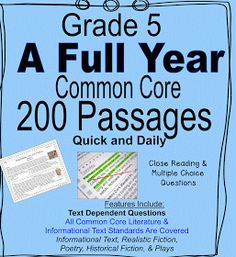 Literacy & Math Ideas: Grade 5 A complete Year of Daily Common Core Reading Practice