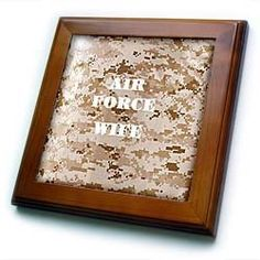 """Air Force Wife - 8x8 Framed Tile by 3dRose. $22.99. Keyhole in the back of frame allows for easy hanging.. Cherry Finish. Inset high gloss 6"""" x 6"""" ceramic tile.. Dimensions: 8"""" H x 8"""" W x 1/2"""" D. Solid wood frame. Air Force Wife Framed Tile is 8"""" x 8"""" with a 6"""" x 6"""" high gloss inset ceramic tile, surrounded by a solid wood frame with pre-drilled keyhole for easy wall mounting."""