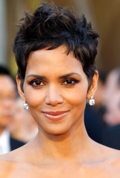 Saving this for a character design. Good base for Minerva Pride.... Textured pixie cut. (Halle Berry)