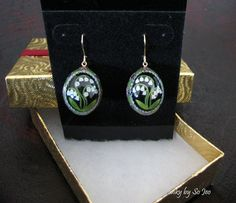 Tiny Finch Egg Lily Of The Valley Earrings Pysanky Jewelry By So Jeo