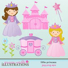 This Little Princess clipart set comes with 7 cute Princess graphics including: 2 little princesses, a castle, a carriage, a wand and 2 flowers.    Graphics are made in High Quality 300 dpi and come in JPG, PNG & EPS format.