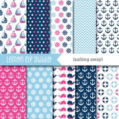 ● Sailing away girldigital paper set comeswithvarioussail boats pattern, anchors pattern, ship wheels pattern, life preservers pattern, stars patternand various matching pattern like stripes and chevron.These papersare perfect for creating invitations, printable party decorations,scrapbook and more!