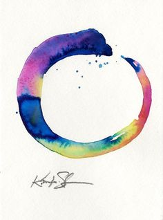 Buy The Enso Of Zen . Painting by Kathy Morton Stanion on Artfinder. Discover thousands of other original paintings, prints, sculptures and photography from independent artists. Watercolor Tiger, Watercolor Circles, Watercolor Tattoo, Yoga Tattoos, New Tattoos, Spiral Tattoos, Tatoos, Circle Painting, Body Painting