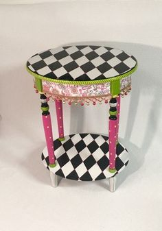 alice in wonderland furniture. whimsical painted furniture table harlequin alice in wonderland