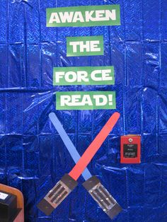 Bulletin Board for Star Wars Celebration at the library Class Displays, Library Displays, Book Displays, Space Classroom, Classroom Themes, Classroom Door, Reading Themes, Reading Day, Star Wars Classroom