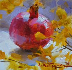 Pomegranate on the Window by Elena Katsyura Oil ~ 6 in x 6 in