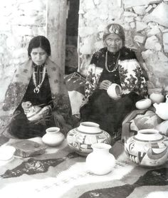 Nampeyo, master Hopi Potter, and one of her daughters.