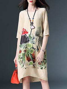 edd6447e96eee Apricot Linen Half Sleeve Floral-print Floral Midi Dress Casual Formal  Dresses