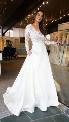 long sleeves satin wedding dresses, lace bodice wedding dresses, dream wedding dress with sleeves #satinweddingdresses