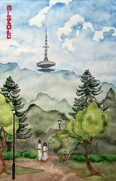 #Miskolc in #japanese #woodblockprint style made with #watercolor Japanese, Watercolor, Painting, Art, Style, Pen And Wash, Art Background, Swag, Watercolor Painting