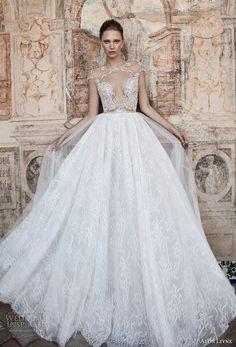 alon livne 2017 bridal cap sleeves illusion jewel neckline keyhole heavily embellished bodice lace skirt romantic sexy a  line wedding dress keyhole back (terri) mv